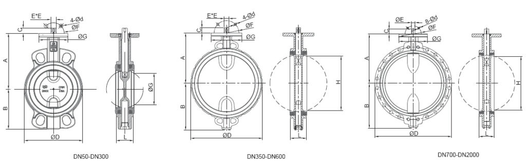 concentric butterfly valves DIMENSIONS
