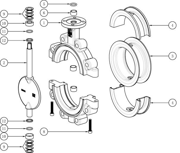 Lined Lug butterfly valve