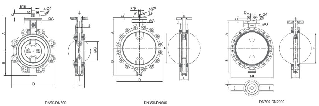 Lug concentric butterfly valves